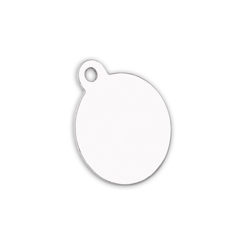 "Unisub Sublimation Blank Gloss Aluminum 1.25"" x 1.5 Pet Tag : Circle One Sided - 5 Pack"