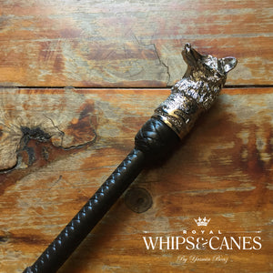 Lead Rein / First Ridden Silver Fox Head Cane