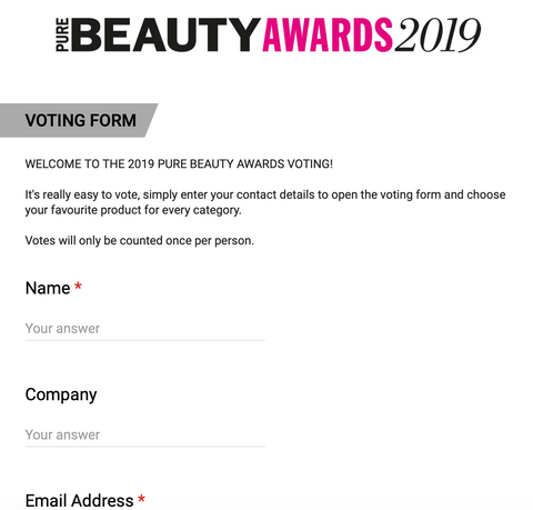 pure beauty awards form