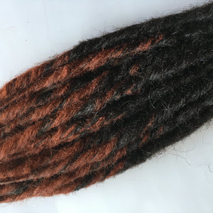 10 DE Synthetic Dreadlock Hair Dreads Extensions Dark Brown Auburn Red Transitional Ombre