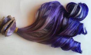 Ombre Hair Extensions Silver Lavender Purple Violet Tape Clip in Human Hair Extensions 18 inches