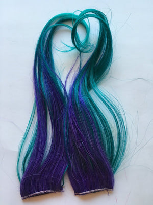 Ombre Human Hair Extensions Streaks Purple and Teal Green Blue Dip Dye Fade Clip Tape 12 in