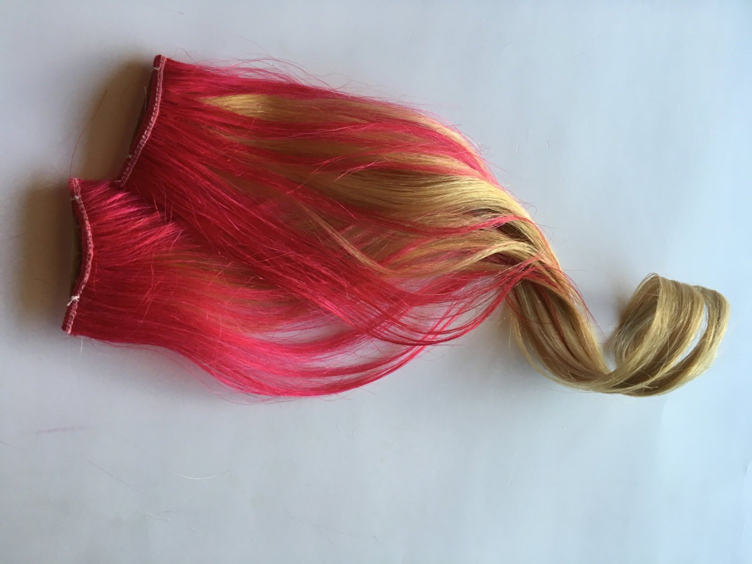 Ombre Human Hair Extensions Hot Pink and Blonde Clip in Streaks or Tape style 18 inch length