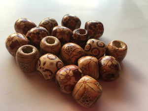Large Wood Dread Beads Natural Wooden Dreadlock Hair Beads Brown Tan Barrel 16mm 7mm