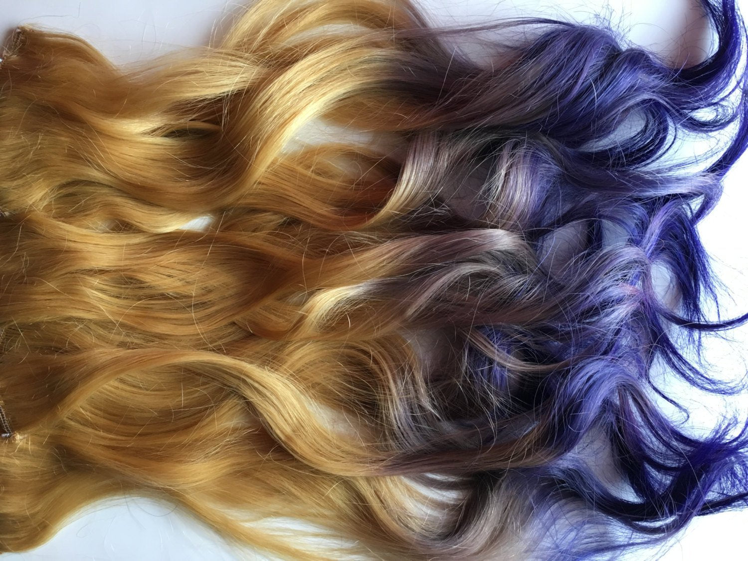 Purple Blonde Ombre Fade Dip Dye Clip or Tap in Human Hair Extensions Double Layered