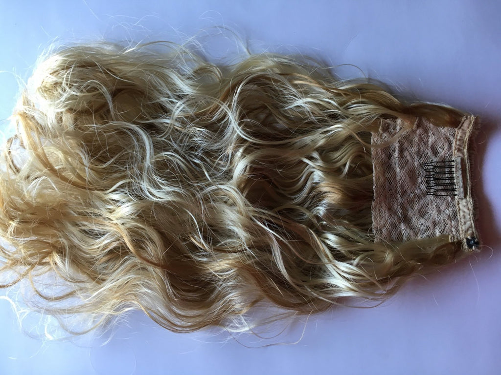Platinum Blonde Wavy Curly Pony Tail Hair Extension Clip Mounted Fall Brown Auburn Black