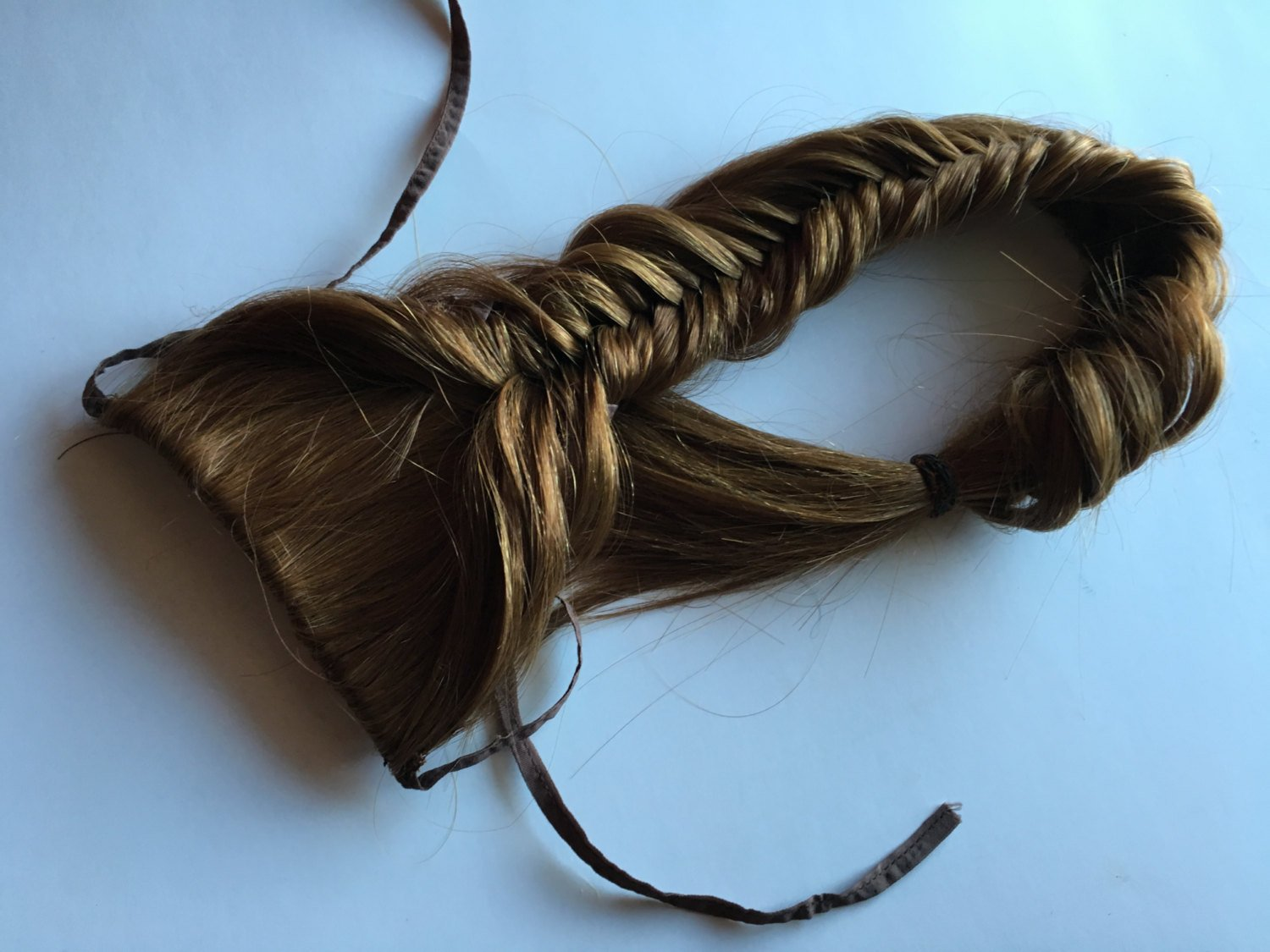 Clip in Fish Tail Braid Hair Extension Brown Blonde Auburn Black Pony Plait Fishtail Tie Fall Clip