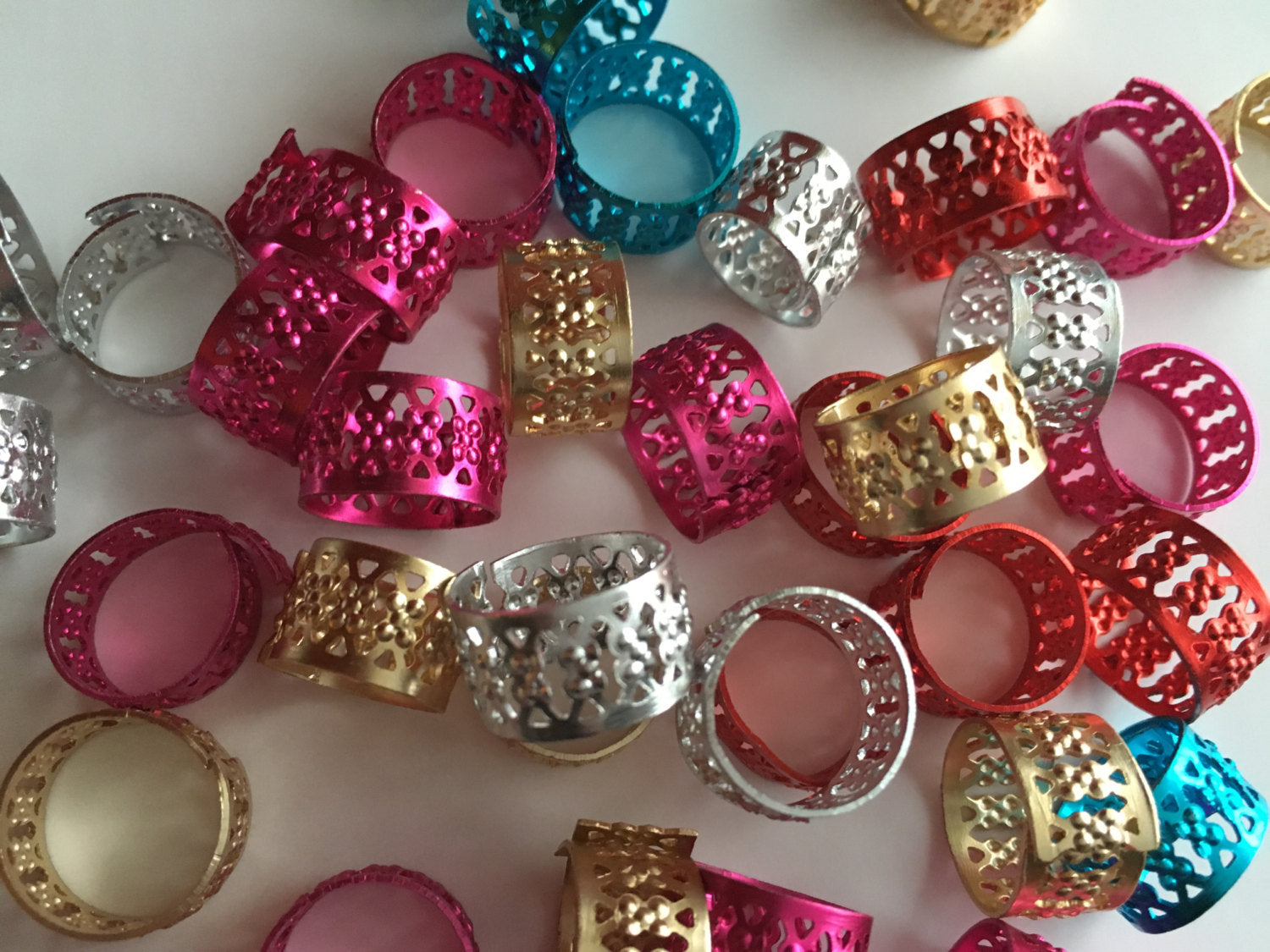 Dread Cuffs Jewelry Dreadlock Hair Beads Gold Silver Blue Purple Pink Red Aluminum Filigree
