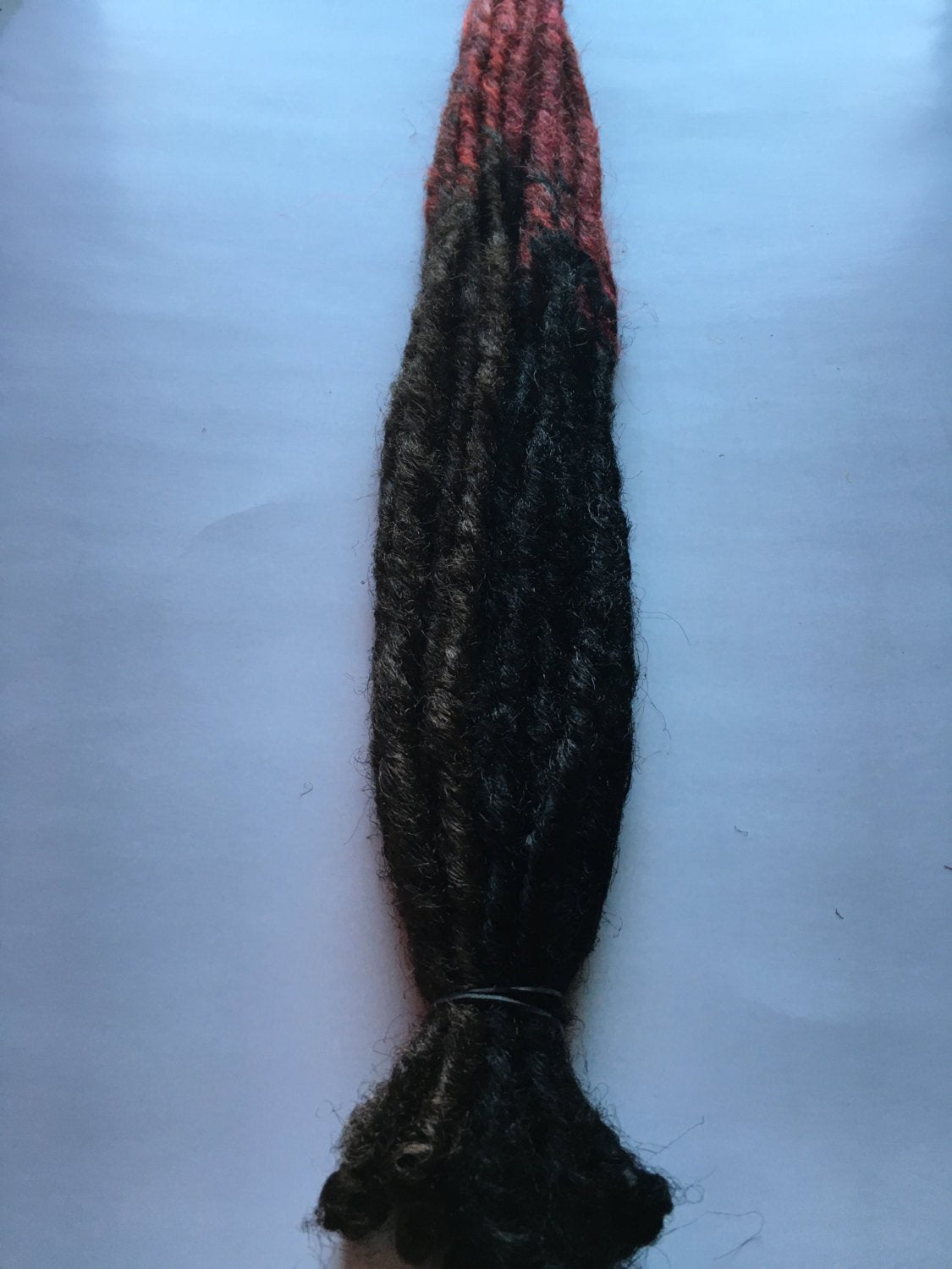15 SE Single Ended Synthetic Dreads Black Brown Ombre Transitional Red Dreadlock Hair Extensions