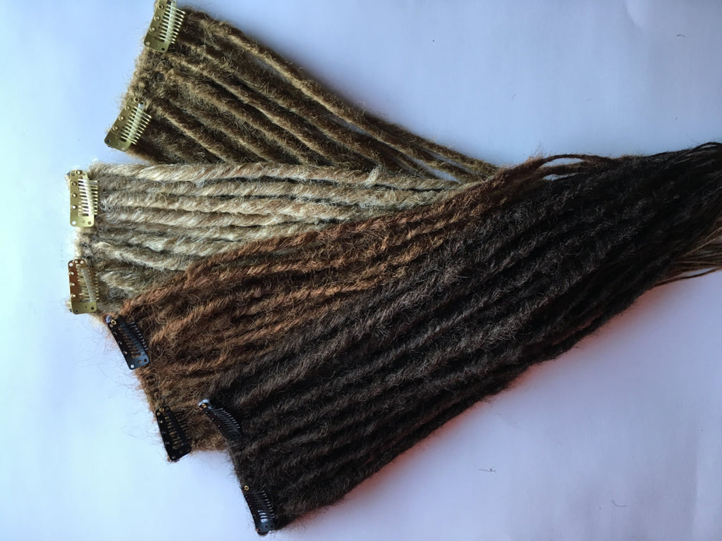 20 Clip in Dreadlocks Synthetic Dreads Fall Hair Extension Custom Black Brown Auburn Blonde