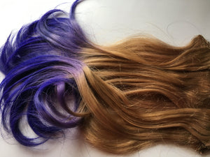 Purple and Medium Blonde Ombre Fade Dip Dye Clip in Human Hair Extensions Set Double Layered