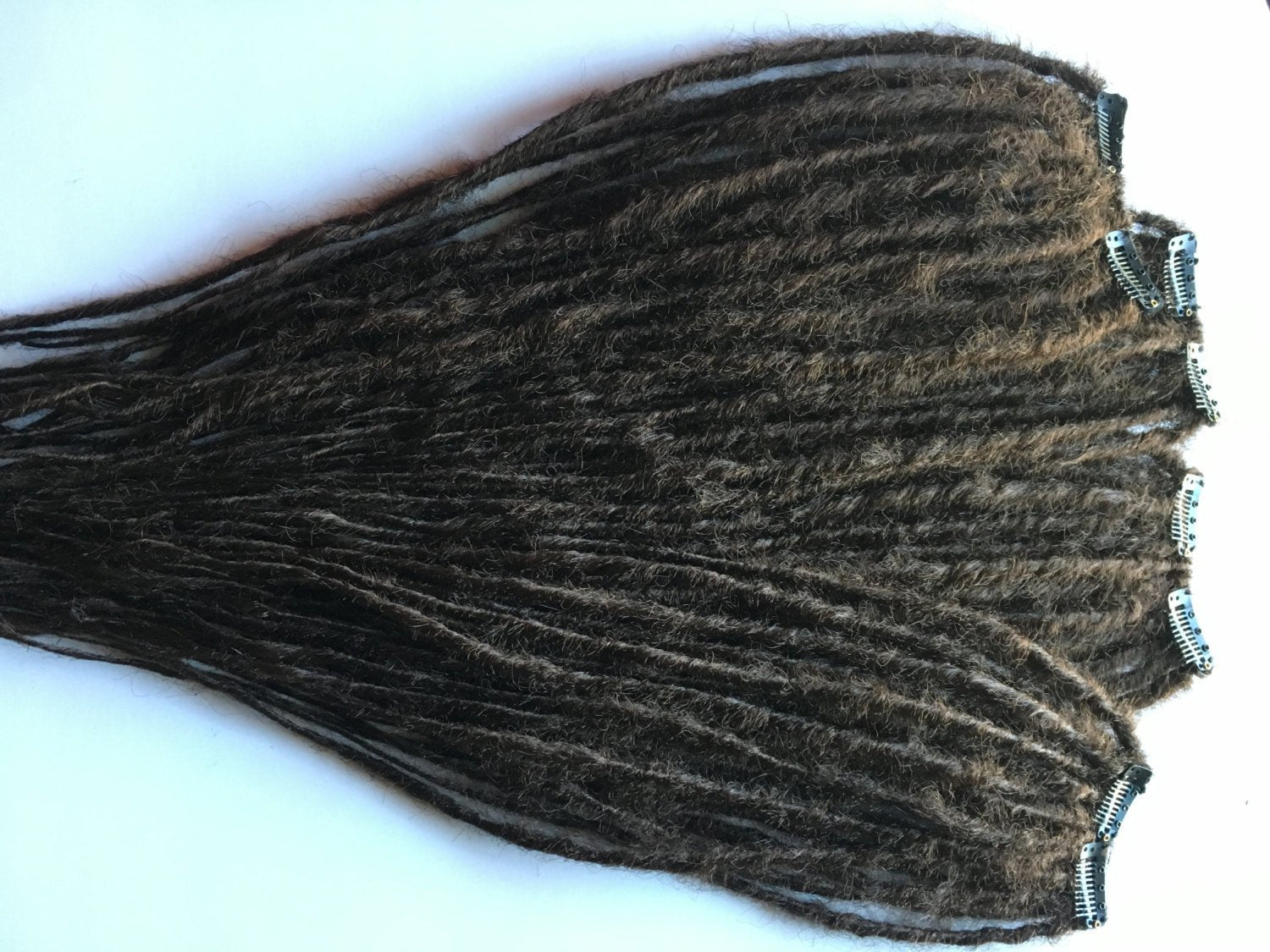 20 Clip in Dreadlocks SE Single Ended Synthetic Dreads Chestnut Brown Hair Extension