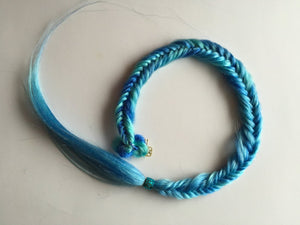 Clip in Fish Tail Braid Hair Extension Two Tone Blue Purple Pink Green Mermaid Fishtail Fall 26 in