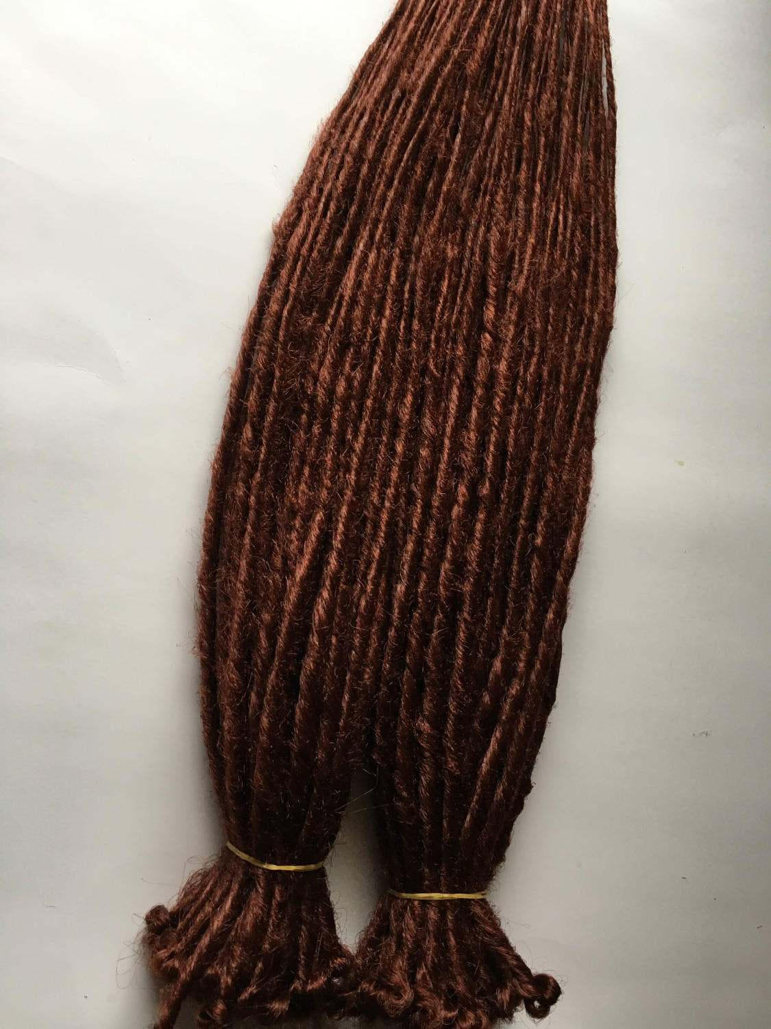 Mahogany Red Auburn Brown Dreads 70 SE Synthetic Dreadlocks Dread Fall Hair Extensions
