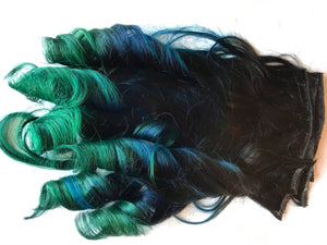 Rainbow 3 Color Ombre Hair Extensions Black Blue Teal Green Blue Purple Clip in Human Hair Remy