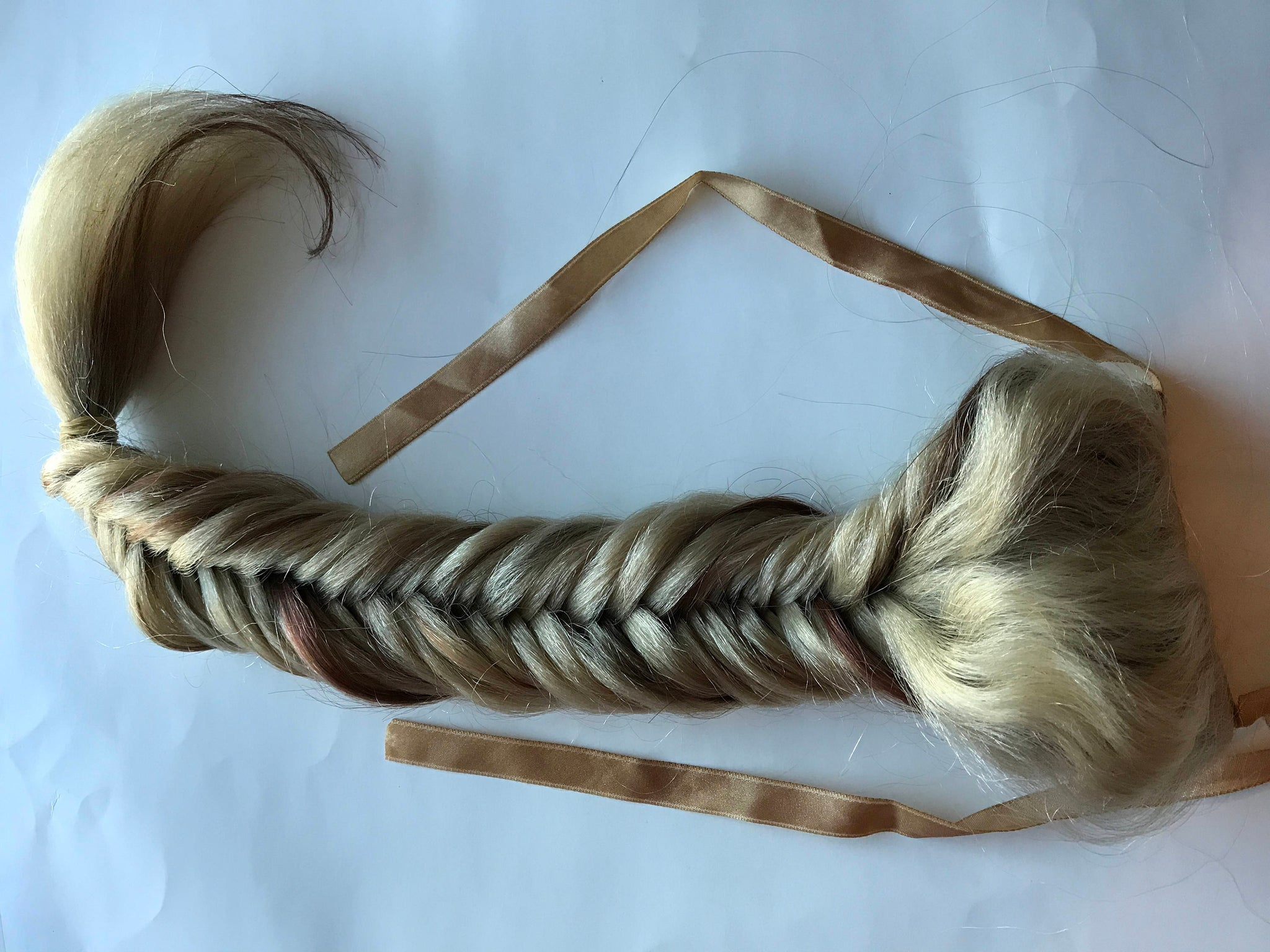 Human Hair Clip in Fish Tail Braid Extension Fishtail Brown Blonde Auburn Black Pony Fall 18 in