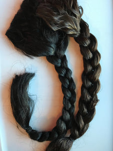 Human Hair Clip in Braid Hair Extension Thick Long Brown Blonde Auburn Black Pony Tail Fall 18 in