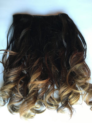 14 in Black Auburn Brown Ombre Extensions Clip in 100% Human Hair Remy Dip Dye Fade