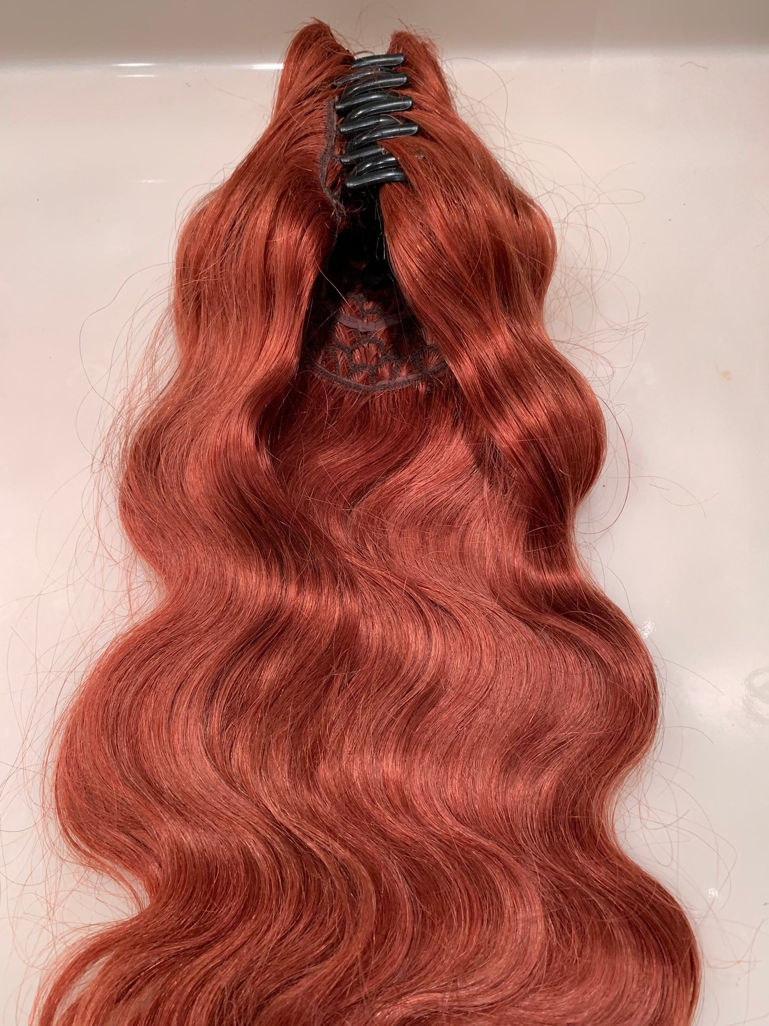 Human Hair Clip in Hair Extension Copper Auburn Red Pony Tail Fall Comb Claw