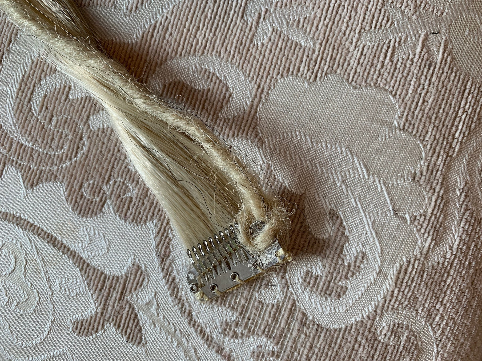 Clip in White Platinum Blonde Black Hair Extension and Synthetic Dread Dreadlock Dreadloc 18 in