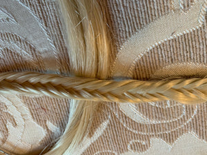 Platinum Light Blonde Fishtail Braid Fish Tail Hair Extension White Plait Clip in Braid 16 inches