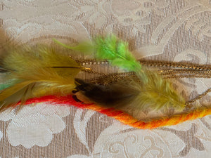 Clip in Yellow Green Orange Fire Flame Feather Extension Dreads Dreadlocks Dreadlocs Festival Hair