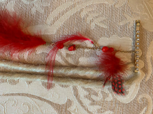 Clip in Red Black Blonde Feather Extension Dreads Dreadlocks Dreadlocs Festival Hair Chains Beads