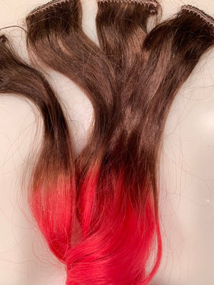 Light Brown Hot Pink Ombre Clip or Tape in Human Hair Extensions Streaks Set of 4