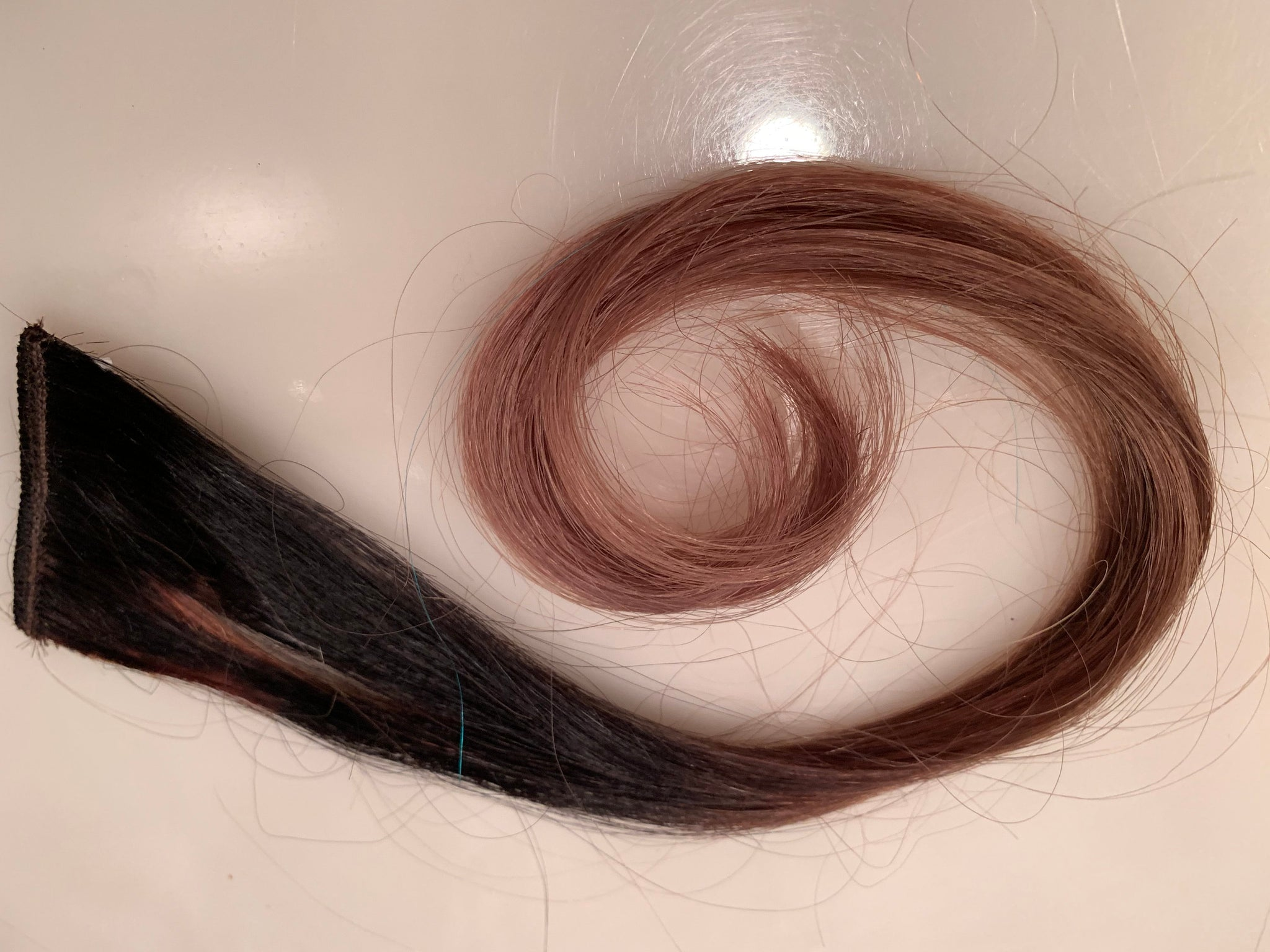 Black Brown Ombre 100% Human Hair Extensions Clip or Tape Streak 16 inches long