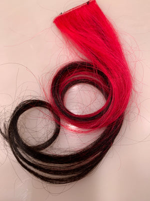 Black Hot PinkOmbre 100% Human Hair Extensions Clip or Tape Streak 20-22 in