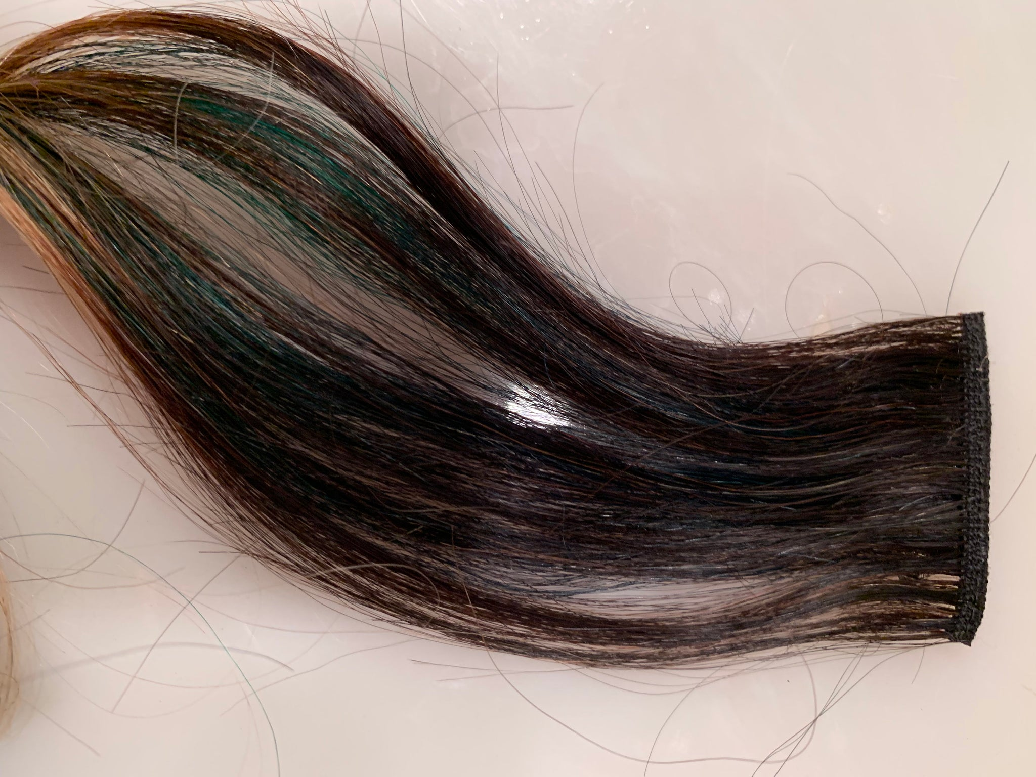 Black Blonde Green Blue Ombre 100% Human Hair Extensions Clip or Tape Streak 20-22 inches long