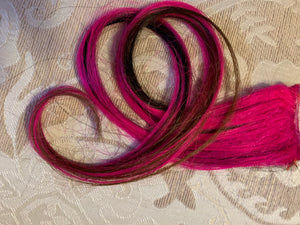 Hot PInk Black Layered Ombre 100% Human Hair Extensions Clip or Tape Streak 18 in