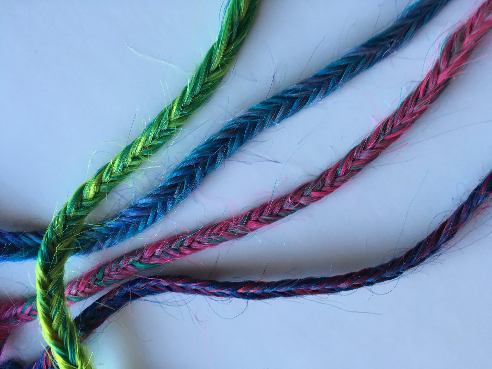 4 Clip in Fish Tail Braid Hair Extension Two Tone Blue Purple Pink Green Mermaid Plait Fishtail