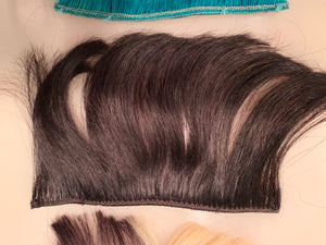 4 Short Bangs Fringe Clip in Human Hair Extensions Platinum Black Honey Blonde Teal Green Blue