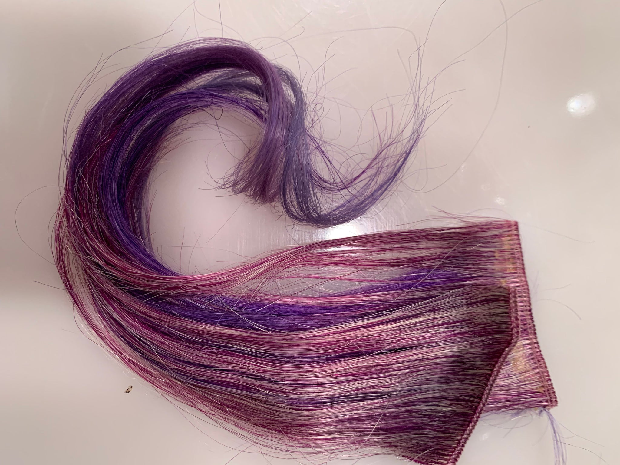 Purple Violet Lavender Pink Ice in 100% Human Hair Extensions Streaks 12 inches long Set of 2