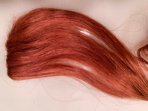 Copper Blonde Auburn 100% Human Hair Extensions Clip in Streak 20 in Hidden Seam Extra Thick
