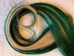 Green and Platinum Blonde 100% Human Hair Extensions Clip or Tape Streaks 12 inches long Set of 2