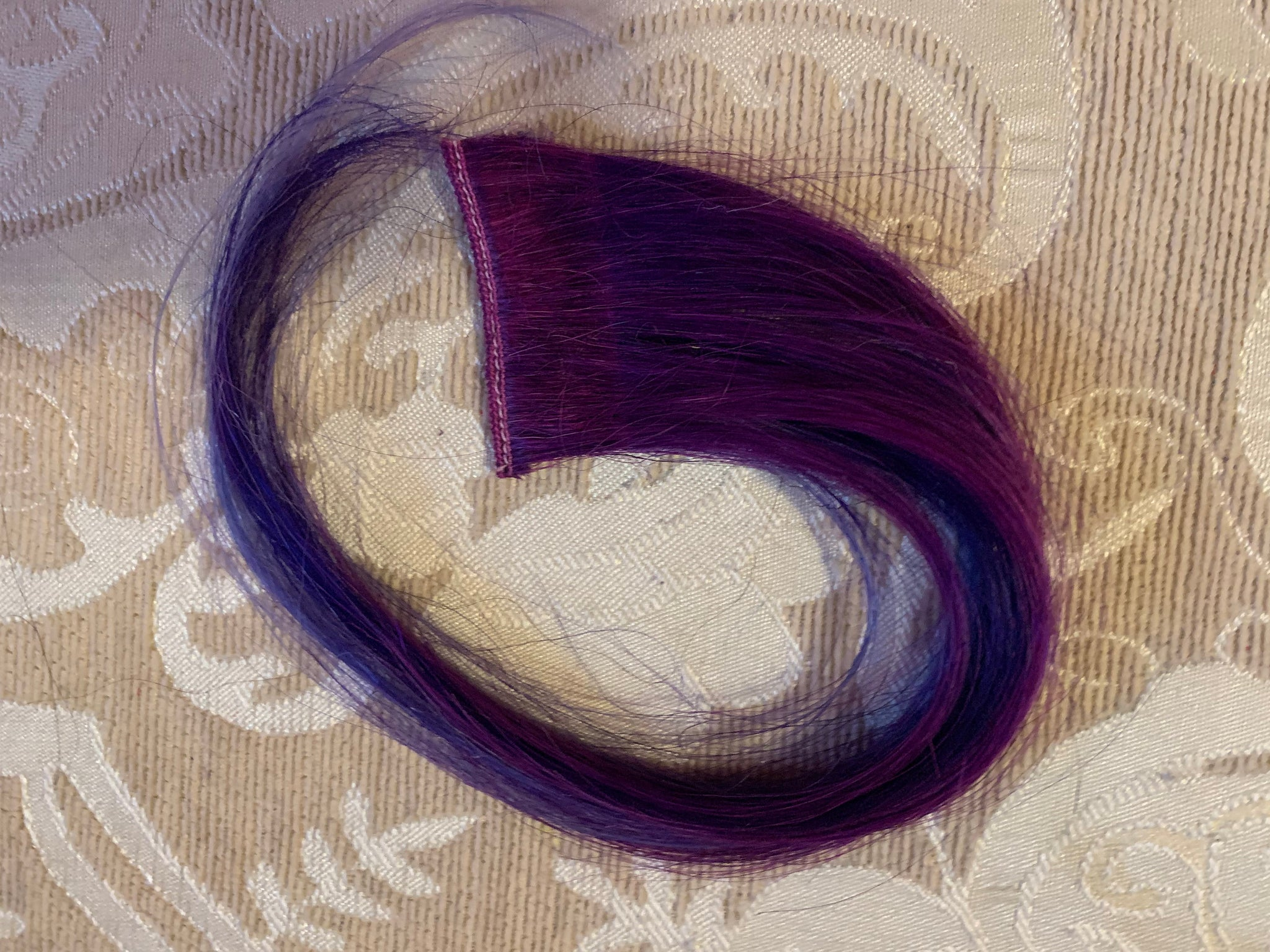 Bright Violet Purple Blue Lavender in 100% Human Hair Extensions Clip or Tape Streaks 12 inches long