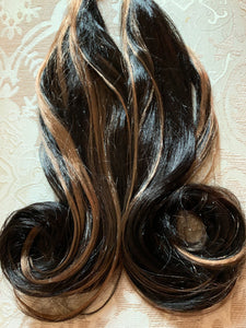 Ready to Ship Hair Extension Falls Ponytail Gold Blonde Black Brown Elastic Curled Synthetic Wavy