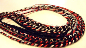 5 DE Double Ended Synthetic Dreads Bright Cherry Red Black White Dreadlock Braid Hair Extensions