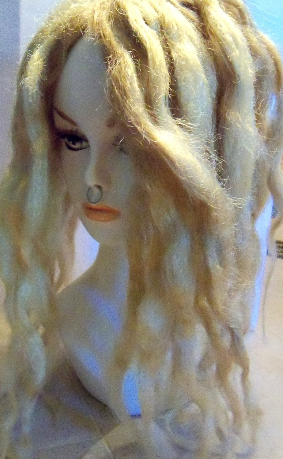 60 Wavy Synthetic Dreads Dreadlock Hair Extensions or Dread Falls inPlatinum Ash Blonde