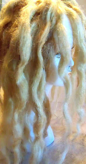 30 SE Single Ended Synthetic Dreads Platinum Ash Blonde Wavy Dreadlock Hair Extension