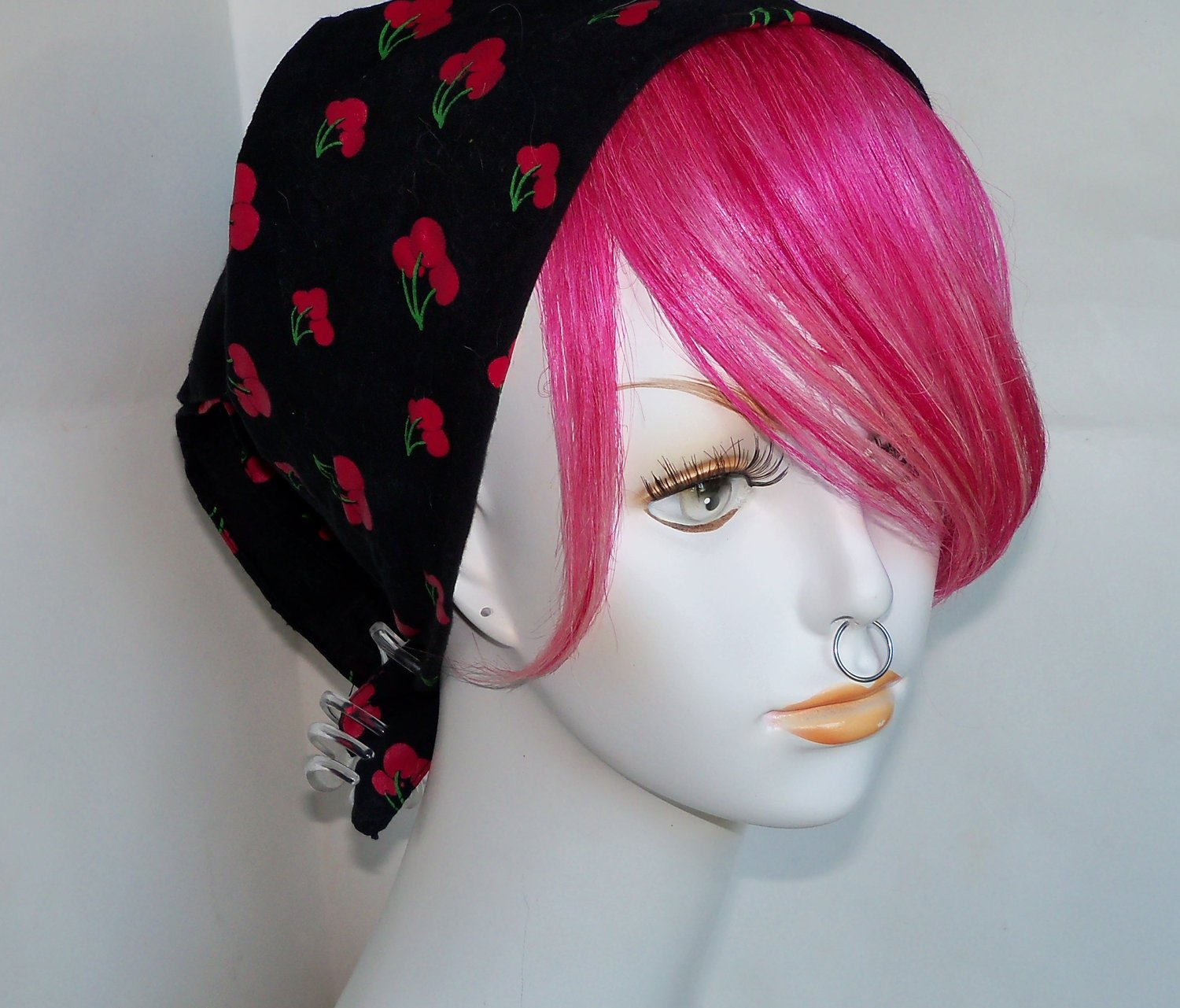 Hot Pink Blonde Highlight 100% Human Hair Clip in Bang Fringe Hair Extension