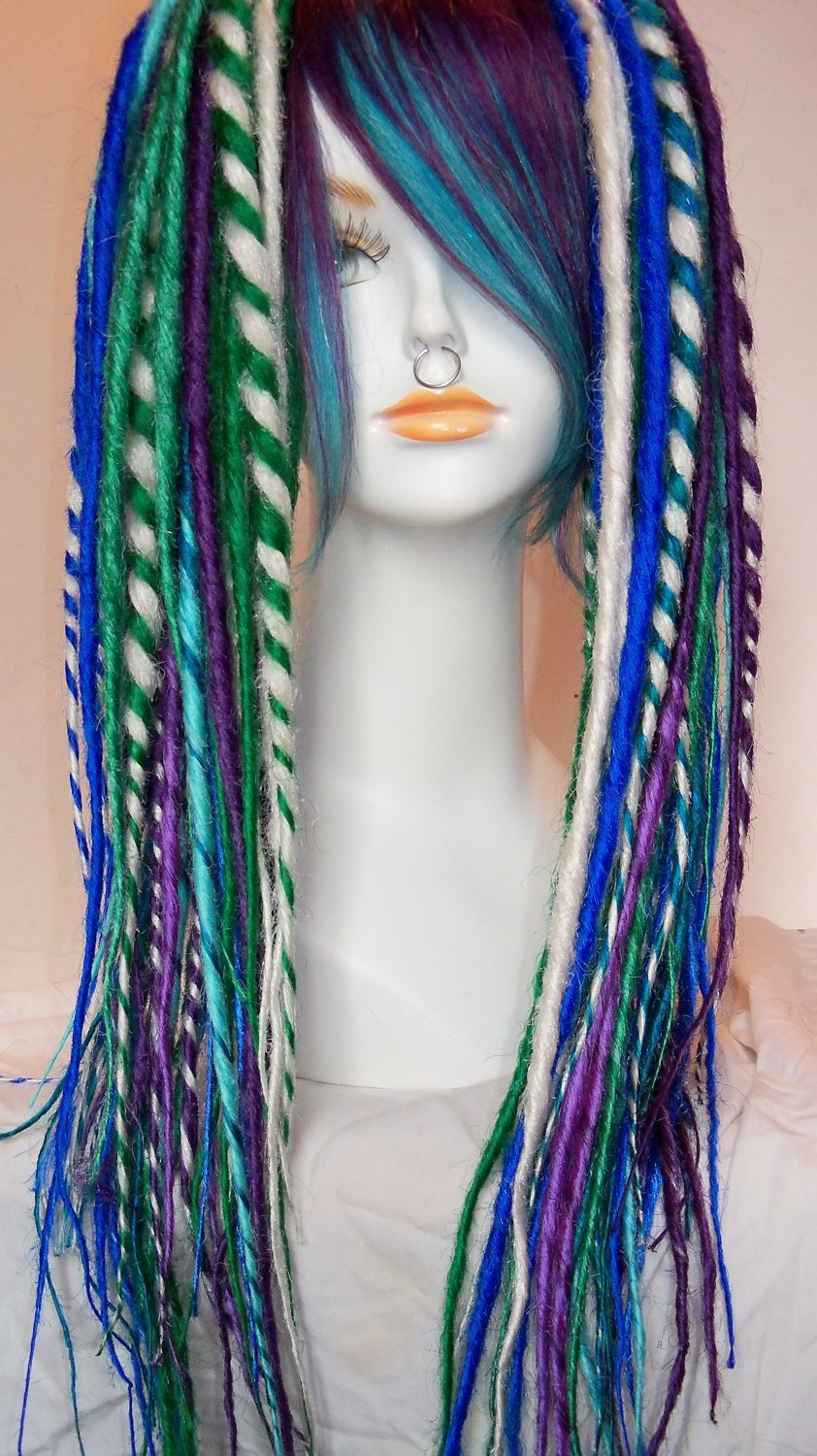 2 Extra Long Synthetic Dread Falls Dreadlocks Matching Fringe Bang Clip Hair Extension