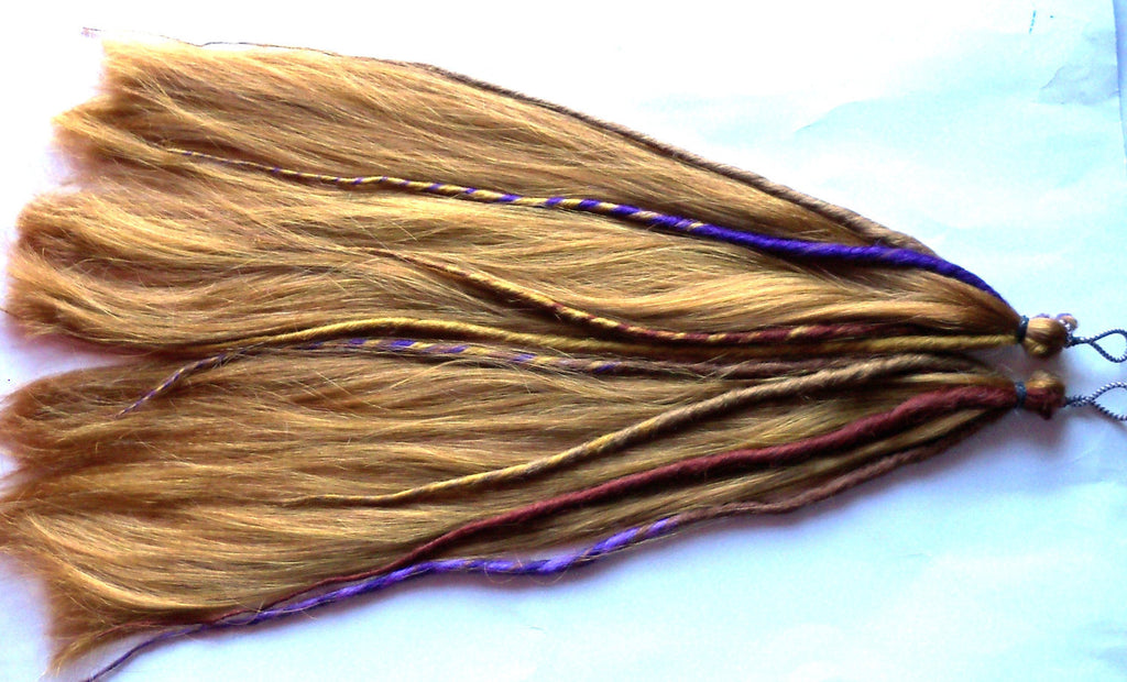 Dreads Dreadlock Pony Tail Falls Hair Extensions Light Auburn Strawberry Blonde Purple
