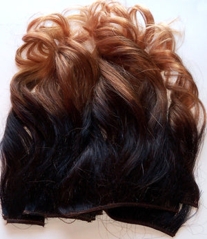 18 inch Ombre Dark Brown Black Brown Auburn Blonde Clip Tape in Remy Human Hair Extensions