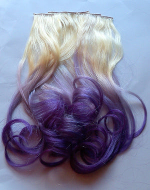 Purple and Blonde Ombre Fade Dip Dye Clip in Human Hair Extensions Set Double Layered