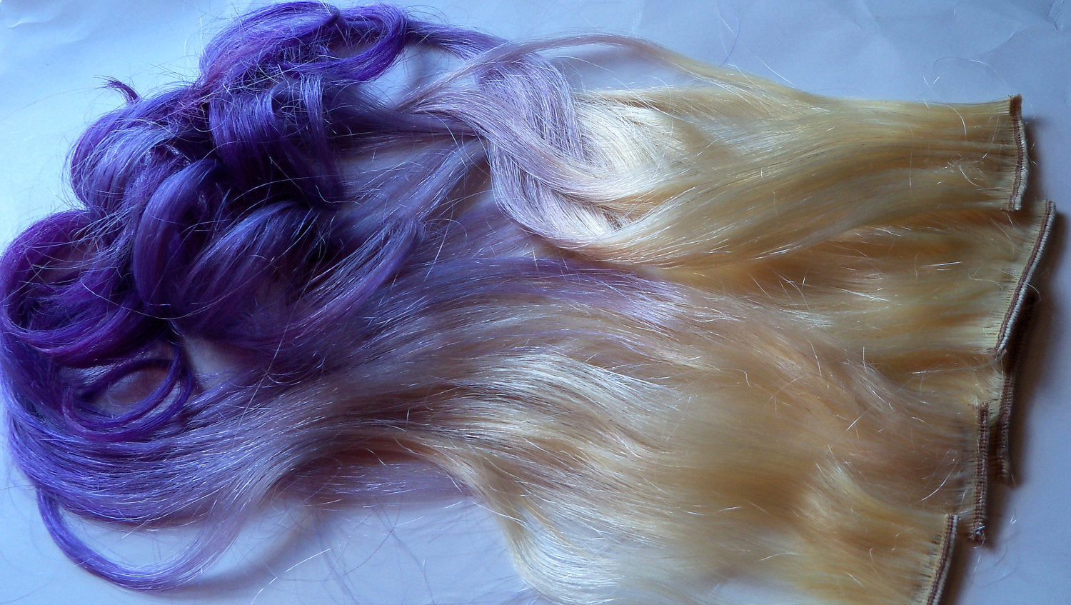 Purple and Blonde Ombre Fade Dip Dye Clip in Human Hair Extensions LARGE Set Double Layered