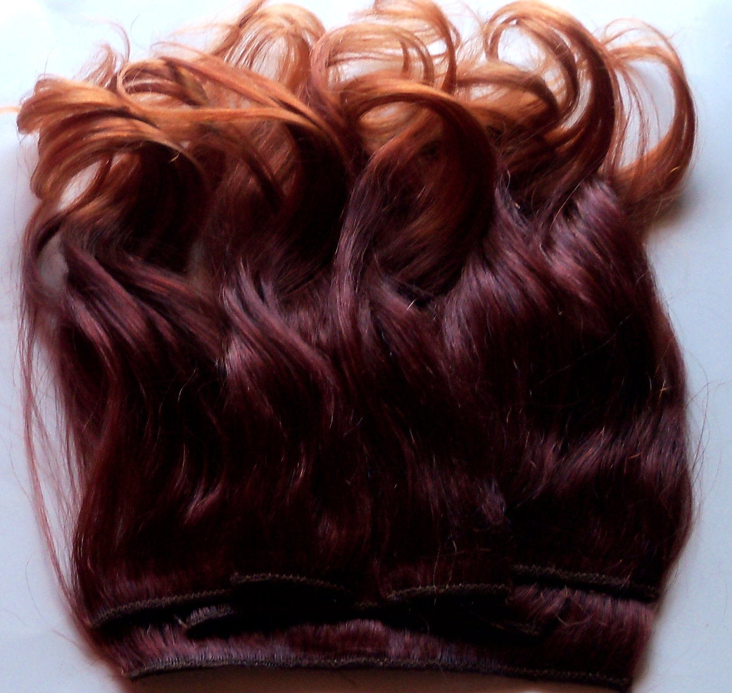 14 in Ombre Red Auburn Gold Blonde Clip Fade 100% Remy Human Hair Extensions