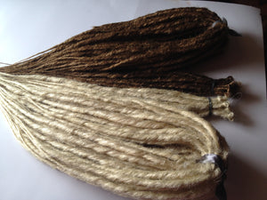 110 Platinum Blonde Light Brown SE Single or DE Double Ended Braid Dreadlock Hair Extensions Falls
